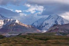 Mount Lenin seen from Basecamp in Kyrgyzstan taken in August 2018. Taken in HDR royalty free stock images