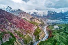 Mount Lenin seen from Basecamp in Kyrgyzstan taken in August 2018. Taken in HDR royalty free stock photos