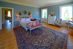 The Mount in Lenox, Massachusetts, USA. Bedroom in The Mount. This building was built in 1902 as the country house for Edith Wharton in town of Lenox in the Stock Images