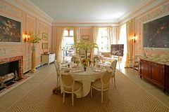 The Mount in Lenox, Massachusetts, USA. Dining room in The Mount. This building was built in 1902 as the country house for Edith Wharton in town of Lenox in the royalty free stock photography