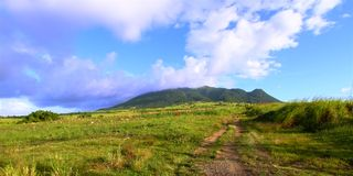 Mount Liamuiga in Saint Kitts. View of Mount Liamuiga from the sugar cane fields of Saint Kitts Royalty Free Stock Photo