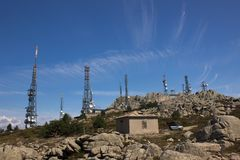 Mount Limbara communications tower. Mount Limbara Sardenia, Italy - communications towers on the top of the mountain stock photography