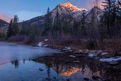 Mount Lorette Ponds in Kananaskis Country. At sunrise stock image