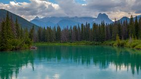 Mount Lougheed and the Bow River in the Canadian Rocky Mountains near Canmore, Alberta. Canada royalty free stock photography