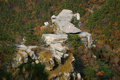 Mount Lu scenery. Covered with yellow leaves and strange stone Royalty Free Stock Photography