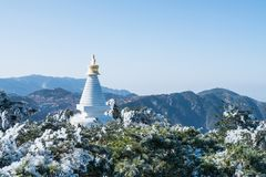 White pagoda in mount lushan Royalty Free Stock Images