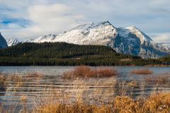 Mount Lyautey and Lower Kananaskis Lake Royalty Free Stock Images