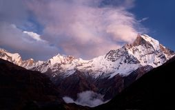 Mount Machapuchare (Fishtail) sunset Royalty Free Stock Image