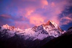 Mount Machapuchare (Fishtail) at sunset, Nepal Royalty Free Stock Photo