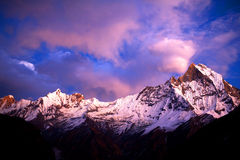 Mount Machapuchare (Fishtail) at sunset, view from Annapurna bas Stock Photos