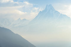Mount Machhapuchchhre. In the morning hours, (peak 7000m), Nepal Royalty Free Stock Photography
