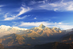 Mount Machhapuchhre, Nepal. Dawn image of Mount Machhapuchhre (tallest peak), known locally as Fishtail Mountain on the Dhaulagiri-Annapurna-Manaslu Himalayan royalty free stock photo