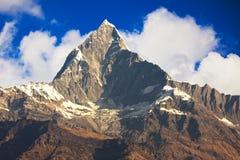 Mount Machhapuchhre, Nepal. Dawn image of Mount Machhapuchhre, known locally as Fishtail Mountain on the Dhaulagiri-Annapurna-Manaslu Himalayan Mountain Range royalty free stock photography