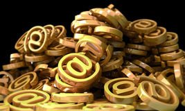 Mount made of E-mail  symbols. 3d illustration. Mount made of gold E-mail  symbols. 3d illustration Royalty Free Stock Image