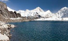 Mount Makalu above lake near Kongma La pass Stock Images