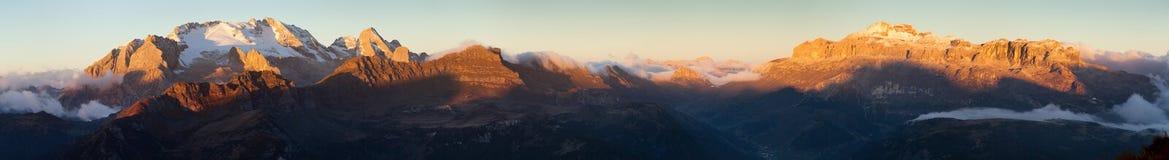 Mount Marmolada and mount Sella sunset panorama royalty free stock photos