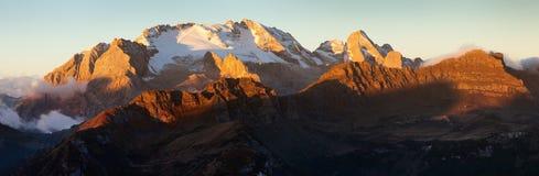 Mount Marmolada sunset panorama royalty free stock image