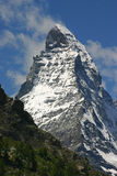 Mount Matterhorn. Massive rock formation of swiss national symbol mount Matterhorn Stock Photo