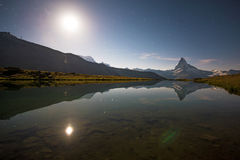 Mount Matterhorn in the Swiss Alps, Europe. Night landscape with. Stars Royalty Free Stock Photography