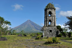 Mount Mayon Volcano. And the ruins of Cagsaua Church in Albay, Bicol, Philippines royalty free stock photo