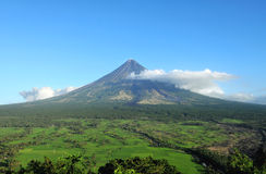Mount Mayon Volcano. In the province of Bicol, Philippines royalty free stock photography