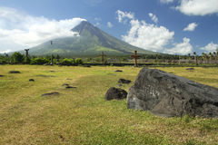 Mount Mayon volcano luzon philippines. Symmetrical Mount Mayon volcano in albay province south luzon in the philippines, the worlds most active volcano stock photo