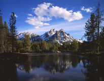Mount McGown & Clouds. Mt. McGown and puffy clouds in Idaho's Sawtooth National Forest stock image
