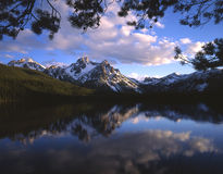 Mount McGown & Lake. Mt. McGown reflecting in a lake, in Idaho's Sawtooth National Fores stock photos