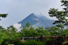 Mount Merapi, an active stratovolcano in Indonesia Stock Photo
