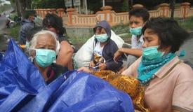 Mount merapi eruption refugees Royalty Free Stock Photography