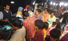 Mount merapi eruption refugees Royalty Free Stock Images