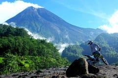 Sunny mountain merapi royalty free stock images