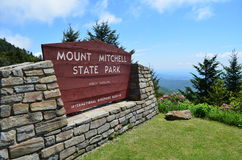 Mount Mitchell Entrance Sign. Entrance sign to Mount Mitchell State Park in North Carolina.  Highest Peak east of the Mississippi River Royalty Free Stock Photos