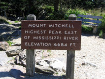 Mount mitchell sign. Sign at the top of mount mitchell royalty free stock images