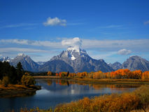 Mount Moran in Fall. Mount Moran (3,842 m) is a mountain in Grand Teton National Park of western Wyoming, USA Stock Photo