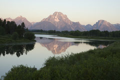 Mount Moran scenic. Scenic view of Mount Moran over Lake Jackson, Teton National Park, Wyoming, U.S.A stock image