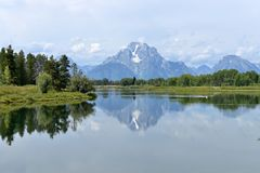 Mount Moran and the Snake River Royalty Free Stock Images
