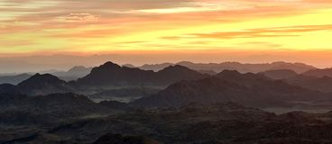 Mountain Moses. A panoramic view of Mount Moses in Sinai at dusk stock photos