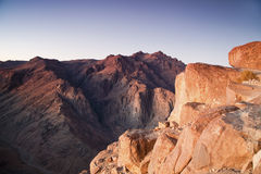 Mount Moses and Saint Catherine in Sinai Peninsula. View at Mount Saint Catherine from Mount Moses at dawn Royalty Free Stock Photos