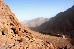 Mount Moses, Sinai. Egypt, can see St. Catherine monastery Royalty Free Stock Images
