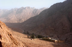 Mount Moses, Sinai. Egypt, can see St. Catherine monastery Royalty Free Stock Image