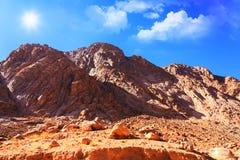 Mount Moses in Sinai, Egypt. Mount Moses in the Sinai desert, Egypt Stock Photo