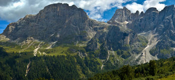 Mount Mulaz and the Top of Focobon, Dolomites. Beautiful view of the Pale di San Martino, Italy royalty free stock photos