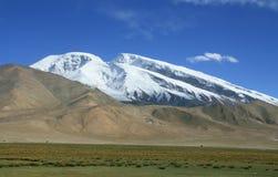 Mount Muztag Ata, the father of ice mountains. On the Pamirs Plateau, Taxkorgan, Kashgar, Xinjiang, China Royalty Free Stock Photo
