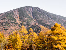Mount Nantai with fall colors in Nikko national park Stock Image