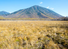 Mount Nantai. Located in Nikko, Japan along the Senjogahara nature hiking trail with a view of Mount Nantai Stock Images