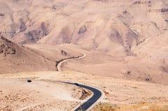 Mount Nebo, road, Jordan, Middle East, desert, landscape, climate change. Jordan 05/10/2013: Jordanian and desert landscape with the winding road to Mount Nebo Stock Image