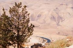 Mount Nebo, road, Jordan, Middle East, desert, landscape, climate change. Jordan 05/10/2013: Jordanian and desert landscape with the winding road to Mount Nebo Stock Images