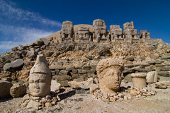 Mount Nemrut Dagi. Stone heads and seat statues on Mount Nemrut Dagi Turkey Royalty Free Stock Images