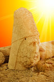 Mount Nemrut the head in front of the statues. Royalty Free Stock Image